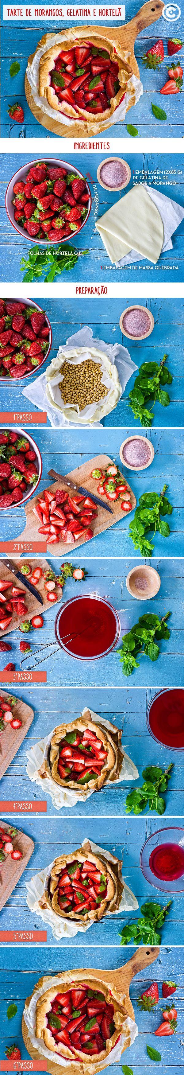 Tarte de morangos, gelatina e hortelã. A sobremesa perfeita para saborear este verão. Veja todos os passos na Continente Magazine de junho ou no Chef Continente.