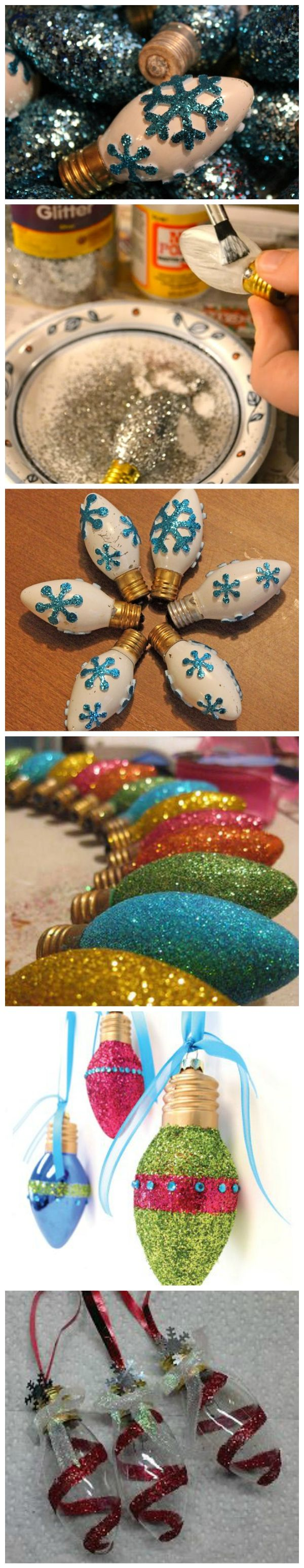 DIY Glittered Christmas Light Bulb Ornaments