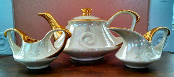 Vintage Cream Iridescent Hand Decorated 22K Gold Pearl China Company Asian Tea Set