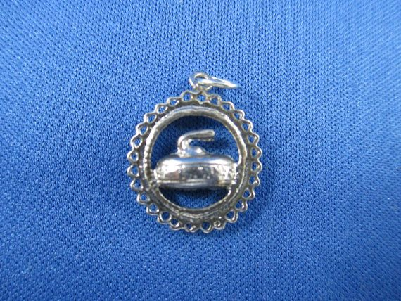 a great bonspiel present - curling rock charm for charm bracelet or necklace pendant