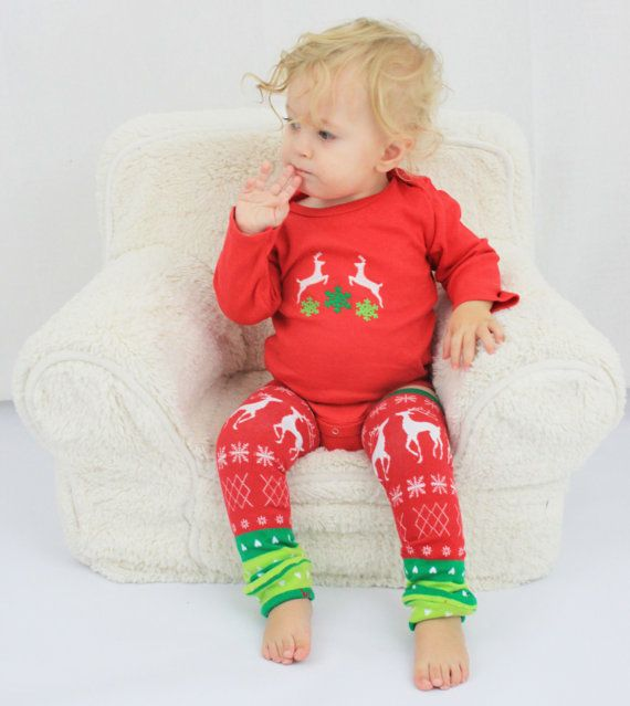 Christmas baby outfit ready to ship with Reindeer, Snowflakes, Hearts, tacky Christmas, #christmasbaby #uglysweater