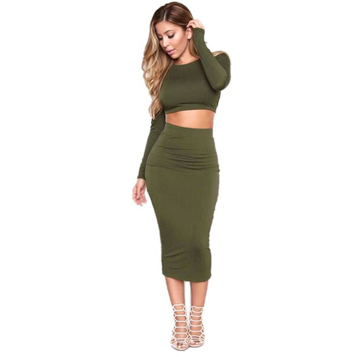 Women Autumn Knitted Set Skirt and Knit Crop Top Long Sleeve Backless Cross Stap Bodycon Bandage Pencil 2 piece Dress Sets -in Women's Sets from Women's Clothing & Accessories on Aliexpress.com | Alibaba Group
