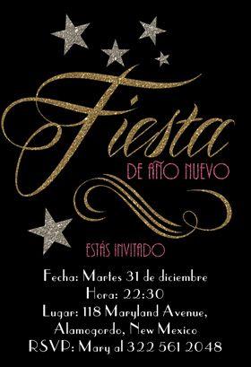 """Brillos fiesta de Año Nuevo"" printable invitation. Customize, add text and photos. print for free!"