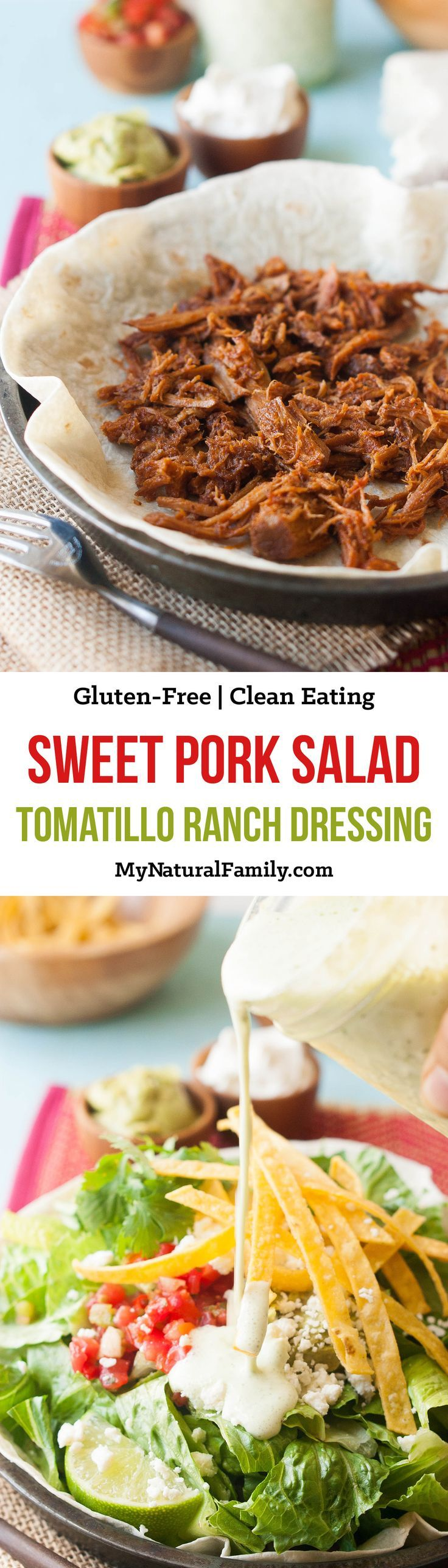 Homemade Creamy Tomatillo Ranch Dressing Recipe - no ranch packet.. Just good, healthy and simple ingredients. Make Cafe Rio at home. {Gluten-Free, Clean Eating}