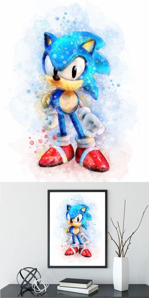 Sonic the Hedgehog Print Sonic Watercolor Nintendo Poster Games
