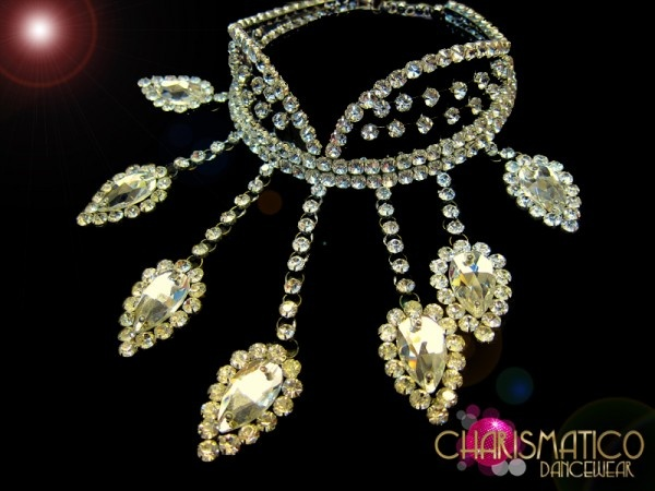 Charismatico Dancewear Store - Stiffened Collar Style Necklace in Rhinestones with Crystal Teardrop Spokes, $150.00 (http://www.charismatico-dancewear.com/products/Stiffened-Collar-Style-Necklace-in-Rhinestones-with-Crystal-Teardrop-Spokes.html)