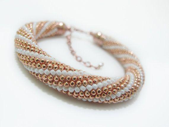 Rose Gold Beaded Crochet Bracelet, elegant, unique, bangle, geometric, minimalist, women, for her, gift, weding, bride, boho, bohemian