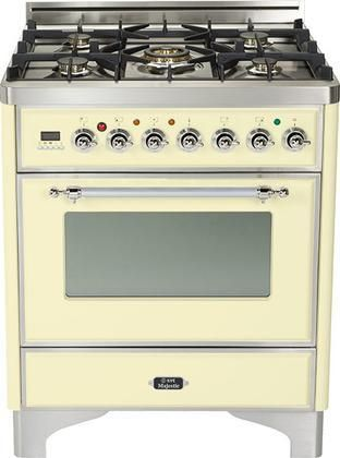 """UM-76-DMP-A-X 30"""" Majestic Series Freestanding Dual Fuel Range with 5 Sealed Burners 3.0 cu. ft. Primary Oven Capacity Convection Oven Warming Drawer Chrome Trim in Antique White"""