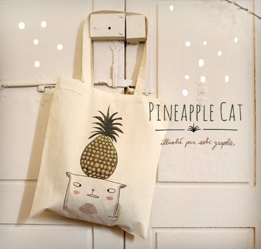 Tote Bag Pineapple Cat by Sobigraphie on Etsy, €16.00