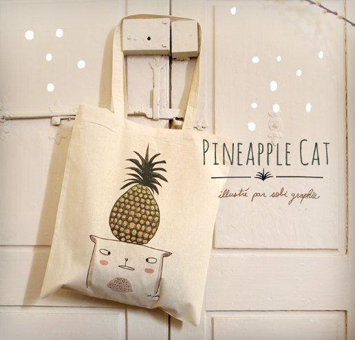 """Tote Bag """"Pineapple Cat"""""""