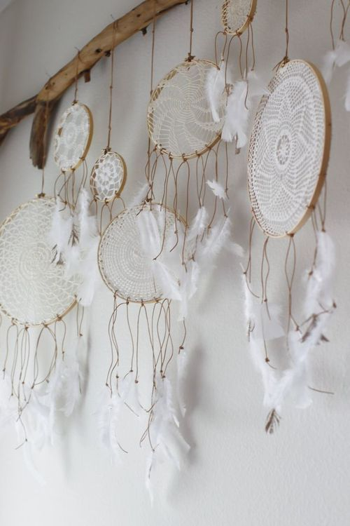 white dream catcher lace crochet bohemian chic.. or you could hang pictures. love!