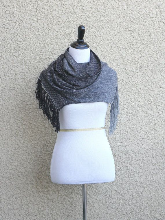 Woven wrap, pashmina stole with gradually changing colors from black to grey.  This unisex model will be perfect for both men and women. You can wear it as a scarf, but it ... #kgthreads