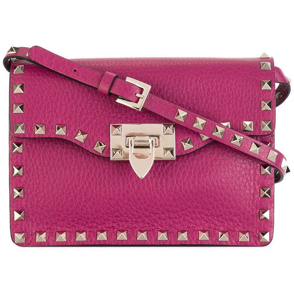 Valentino Garavani Rockstud crossbody bag (4,290 ILS) ❤ liked on Polyvore featuring bags, handbags, shoulder bags, pink, purple cross body purse, pink handbags, valentino handbags, valentino crossbody and pink shoulder bag