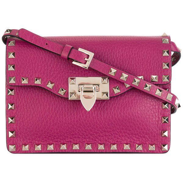 Valentino Garavani Rockstud crossbody bag (4,290 ILS) ❤ liked on Polyvore featuring bags, handbags, shoulder bags, pink, purple cross body purse, pink handbags, valentino handbags, valentino crossbody and pink shoulder bag