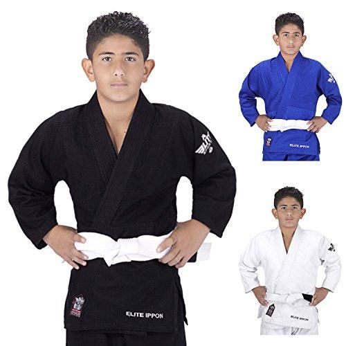 Elite Sports Deluxe Kids IJF Judo Gi w/ Preshrunk Fabric & Free Belt
