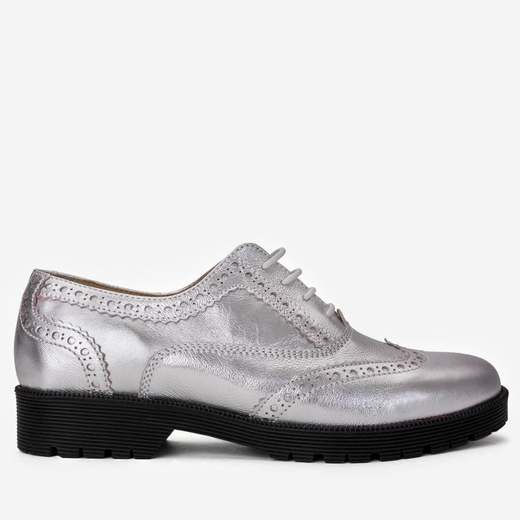 Pantofi Oxford argintii din piele naturala Silvio