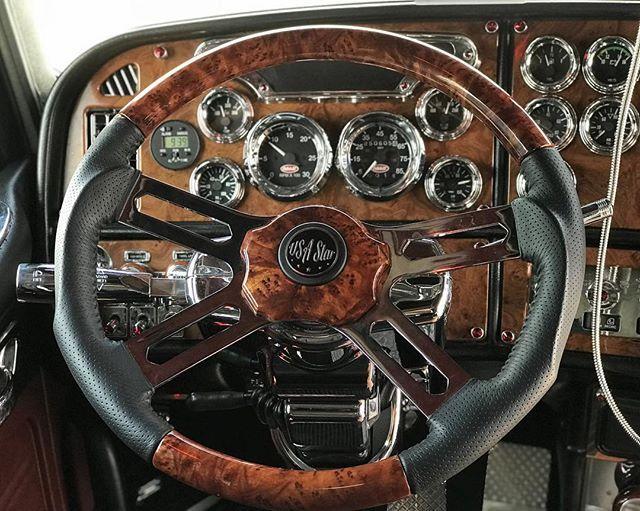 Usastartruckproducts Usastar Sportluxury Steeringwheel Heavyduty Leather Wood Custom Peterbilt Interior Excl Truck Parts Steering Wheel Bolt Pattern