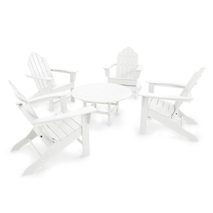 Polywood® Long Island Adirondack 5-piece Round Outdoor Table Set, White