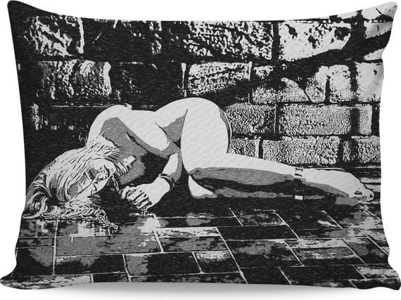 Abducted - kinky BDSM themed pillowcase, black and white #erotic artwork, sexy restrained blonde woman, slave girl tied fetish, dark dungeon bondage - item printed at www.ra... #canvas #art #print #sensual