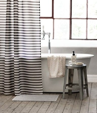 Black striped shower curtain foter decor pinterest for Black and white striped bathroom accessories