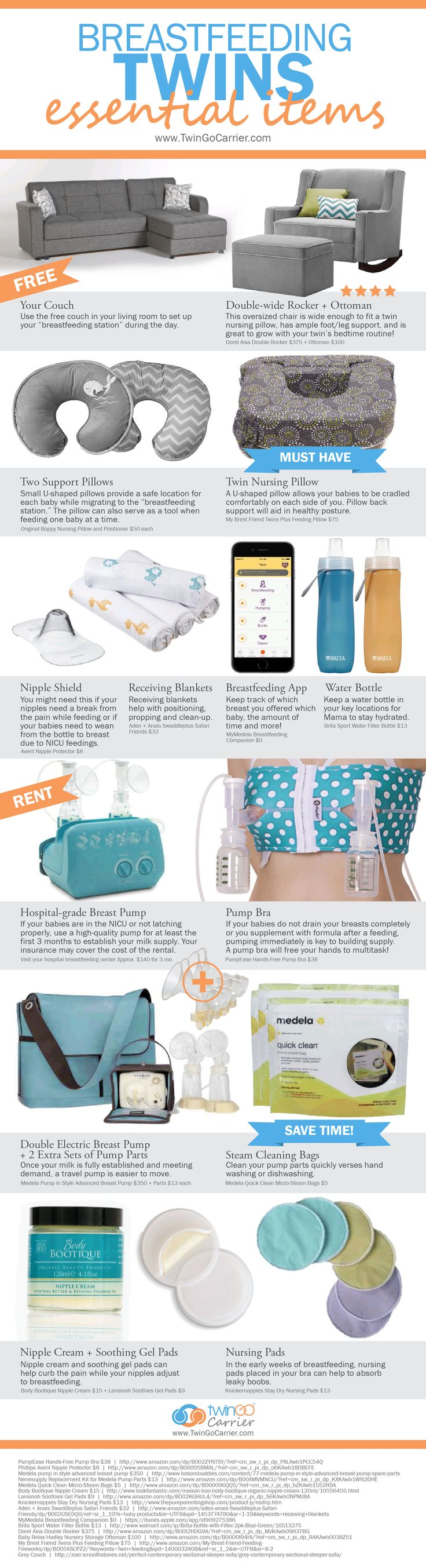 Breastfeeding twins essential items