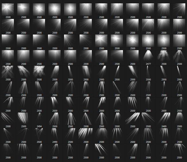 120 Pinceles de Rayos de Sol y Luz para Photoshop