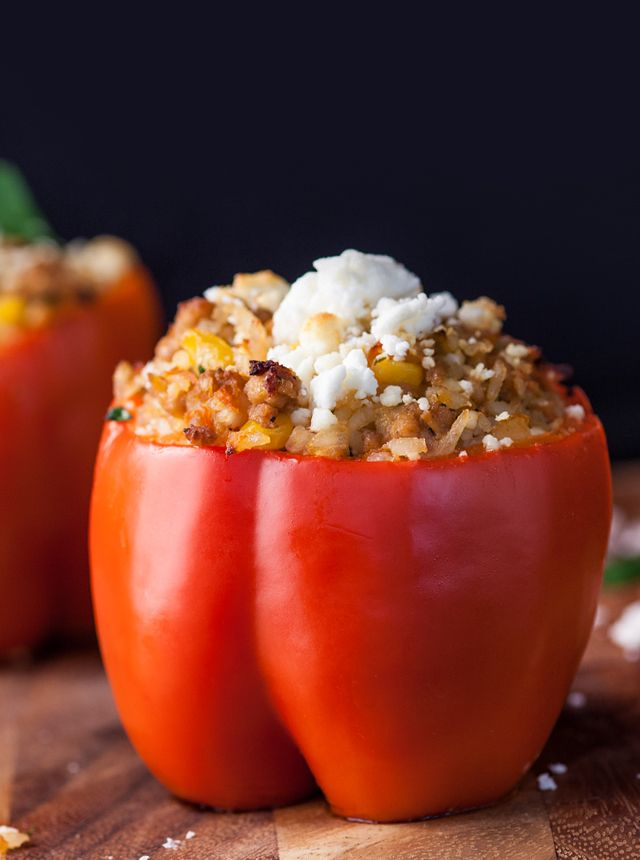 An easy stuffed red bell peppers recipe with ground chicken and feta.