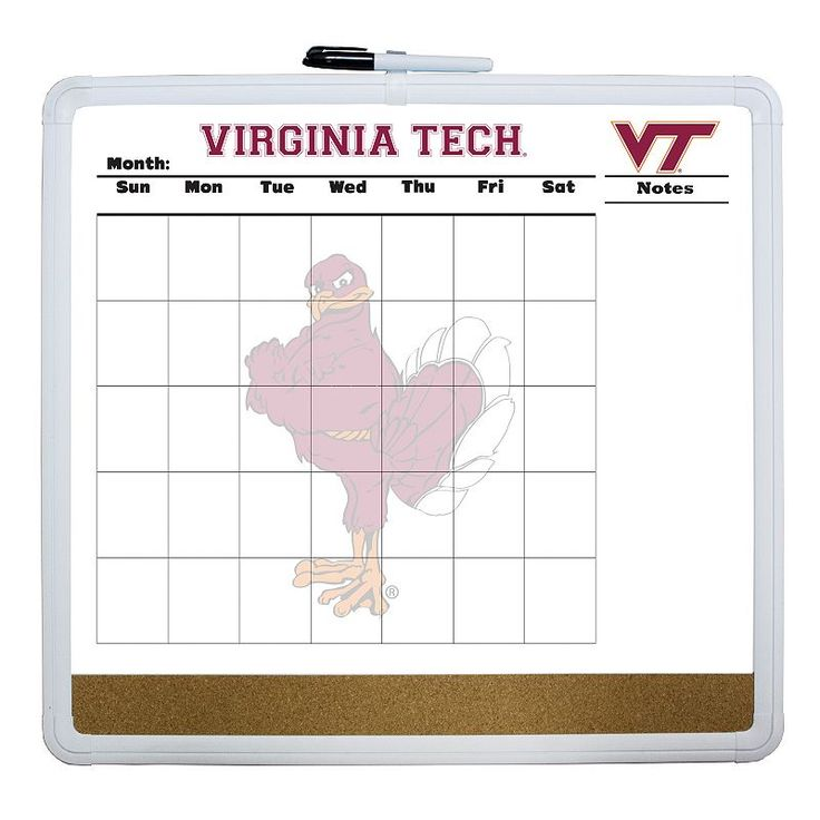 Virginia Tech Hokies Dry Erase Cork Board Calendar, Multicolor