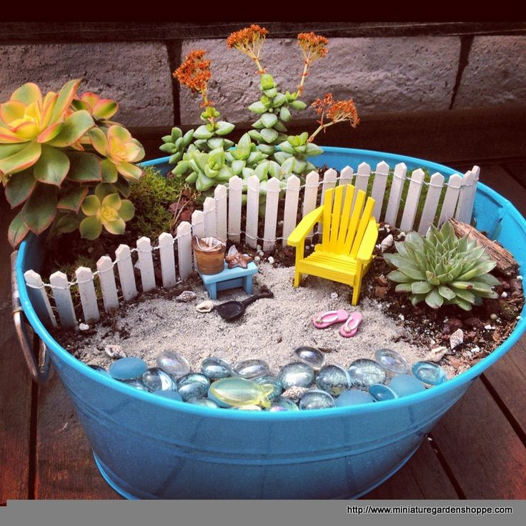 "The blue bucket makes the perfect container for this little beach garden by Holli Risvold. The blue contrasts with the plants and yellow chair for an eye-catching design while the casual style matches that of the beach scene. The ""beach"" is authentic, borrowed from Huntington Beach nearby. A picture perfect little garden."