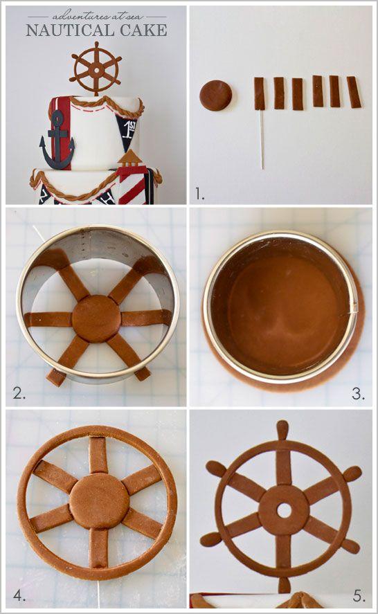 Clay Ship Wheel idea from: Nautical Beach Cake by Miso Bakes  |  TheCakeBlog.com