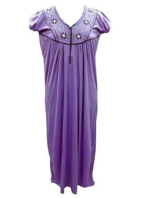 Boho Gypsy Embroidered Kaftan Hosiery Cotton Summer Maxi Nightwear Dress