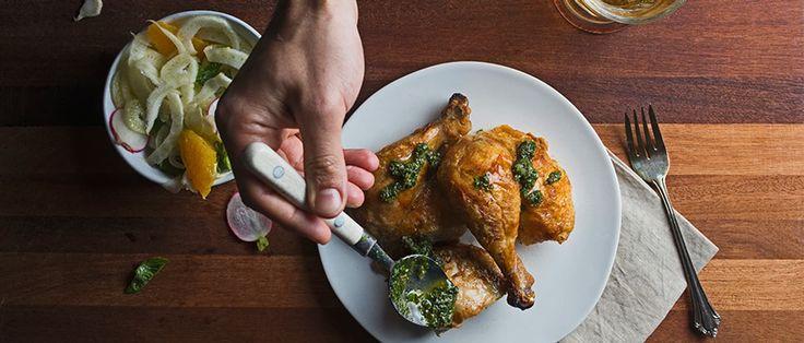 Roast Chicken with Salsa Verde and Fennel-Orange Salad