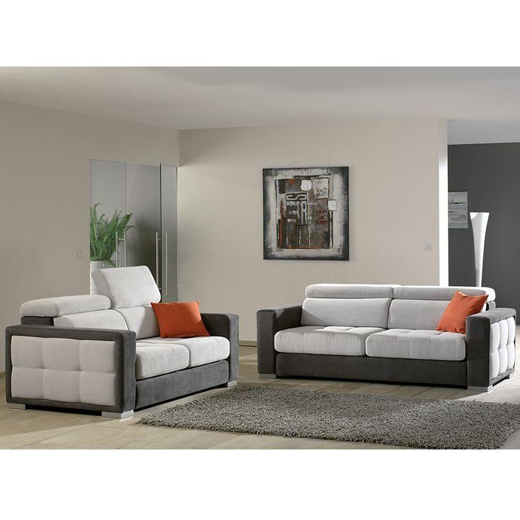 ensemble canap 3 2 places en tissu palma 13 coloris de. Black Bedroom Furniture Sets. Home Design Ideas