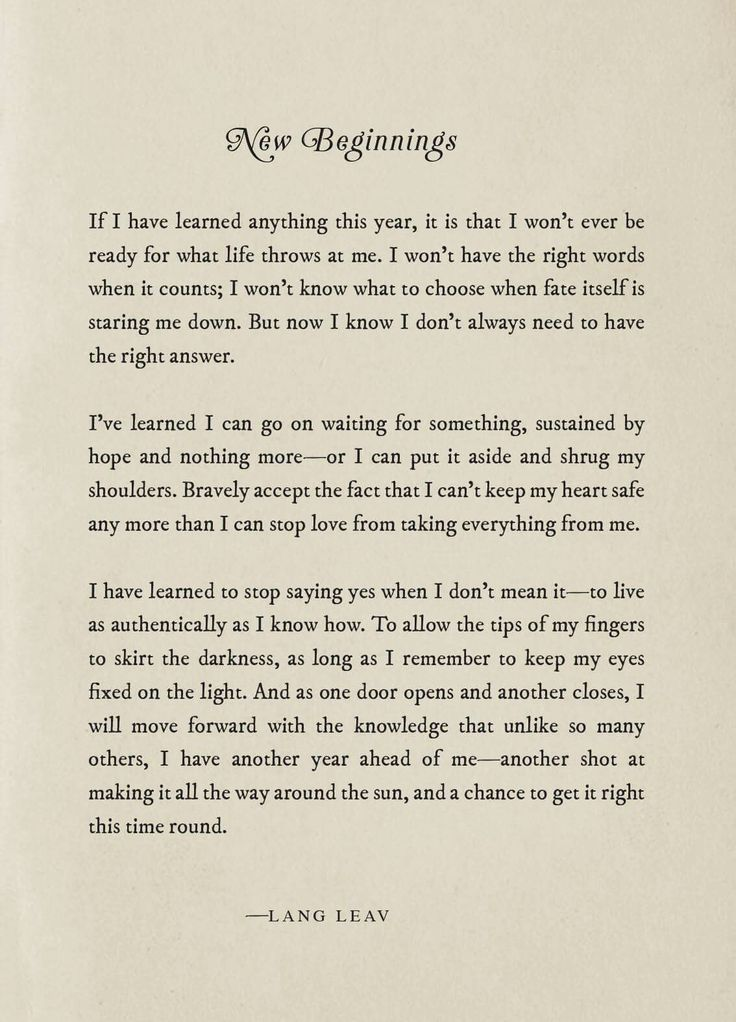 New Beginnings— Lang Leav