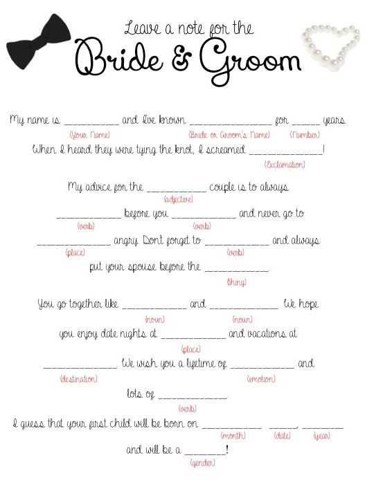Wedding Mad Lib Printable Leave A Note For The Bride Groom Decor Products Bling Sparkles Oh My Pinterest