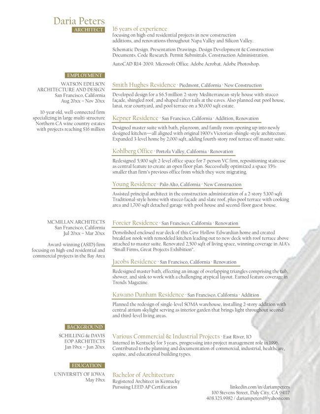 Project architect resume gidiyedformapolitica project architect resume yelopaper Choice Image