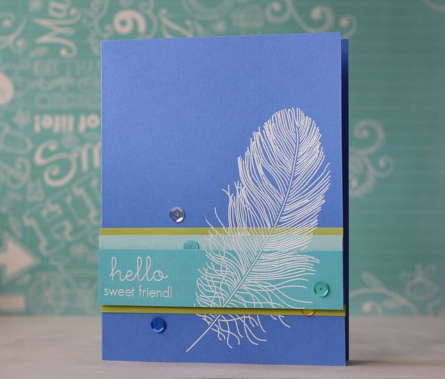 Hello Sweet Friend Card by Laura Bassen for Papertrey Ink (January 2014)