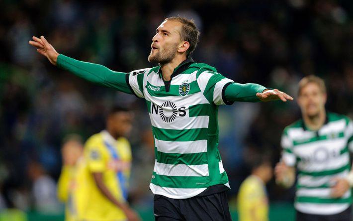 Download wallpapers Bas Dost, 4k, footballers, goal, Sporting Lisbon, soccer