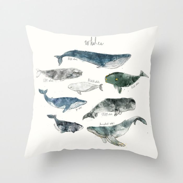 Buy Whales Throw Pillow by amyhamilton. Worldwide shipping available at Society6.com. Just one of millions of high quality products available. #whales #designers #newproducts #newfor2018 #summer18 #mammals #ocean #pillows #homedecor #interiors #society6pillows #society6 #shareyoursociety6 #s6