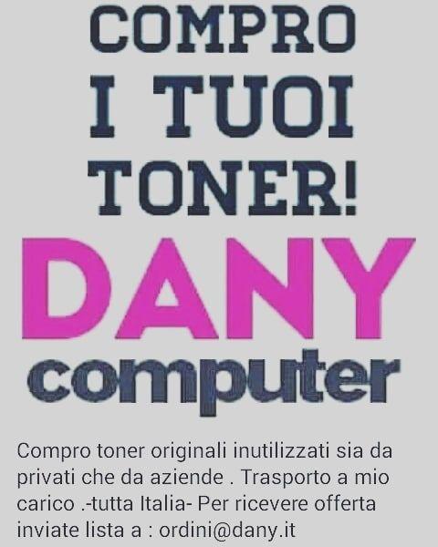 Compro toner originali inutilizzati sia da privati che da aziende mi occupo io del trasporto, inviare lista a ordini@dany.it  PER RICEVERE OFFERTA