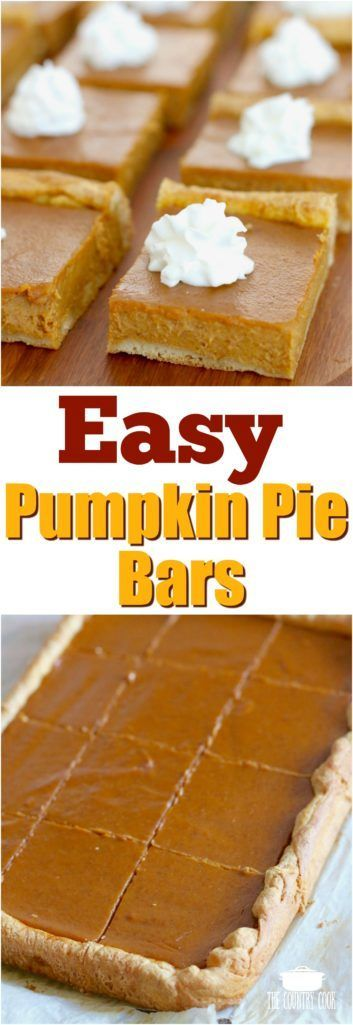 Easy Pumpkin Pie Bars recipe from The Country Cook #easy #recipes #dessert #pumpkin