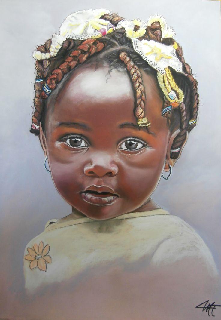 Abebi poupette africaine pastel sec sur papier abrasif 50 x 60 cm - Dessin africaine ...