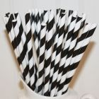 Black Striped Paper Straws (24)