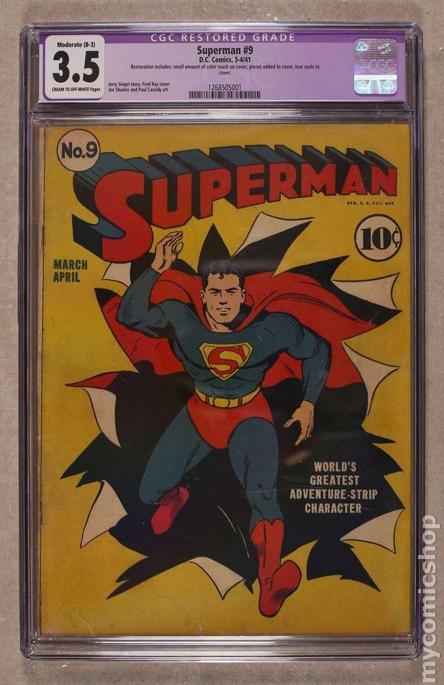 Superman 1st Series 9 1941 Cgc 3 5 Restored 1268505001 Superman 1 Superman Comics