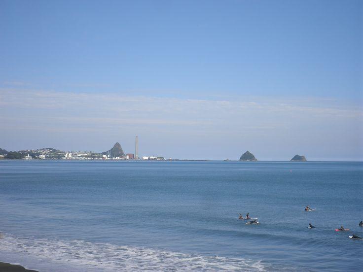 Paritutu, Port Taranaki and the Sugar Loaf Islands from East End Beach.
