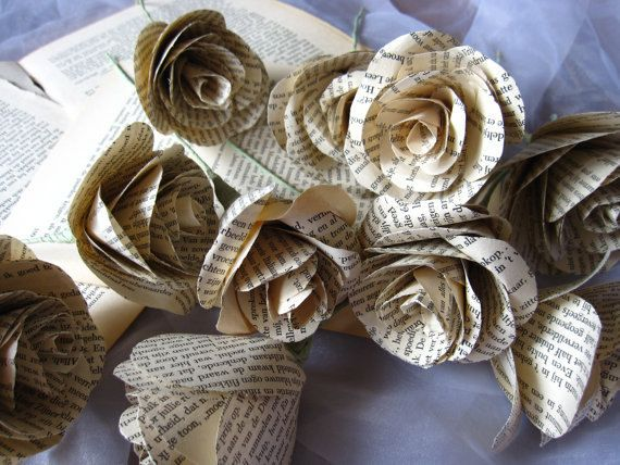 Book Pages Roses Vintage Style True Love Story by moniaflowers