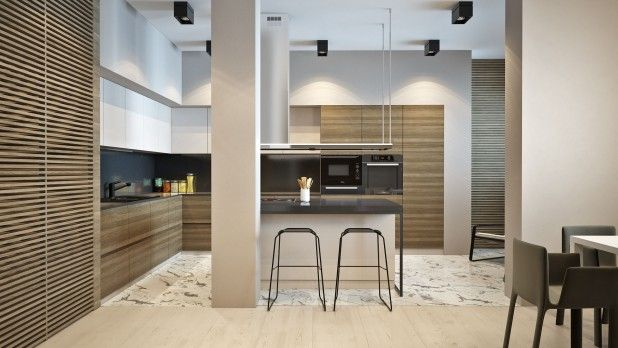 Accessories and Furniture. Appropriate Wood Slats Home Designs. Wooden Kitchen Cabinet Come With Contemporary Kitchen Interior Model And Laminate Wood Slats Home Designs And Ceramic Flooring