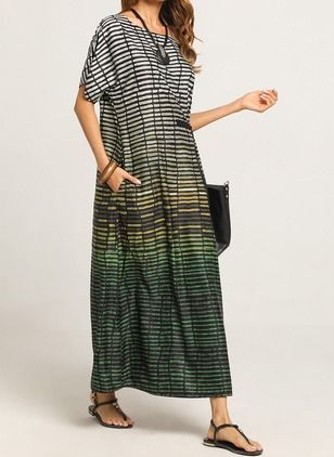Color Block Cap Sleeve Maxi Shift Dress – Floryday @ floryday.com