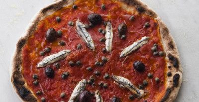 my fave anchovy pizza OTTO Pizzeria New York