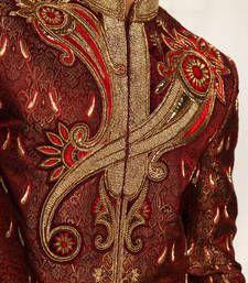 Buy maroon kinkhab embroidered sherwani sherwani online